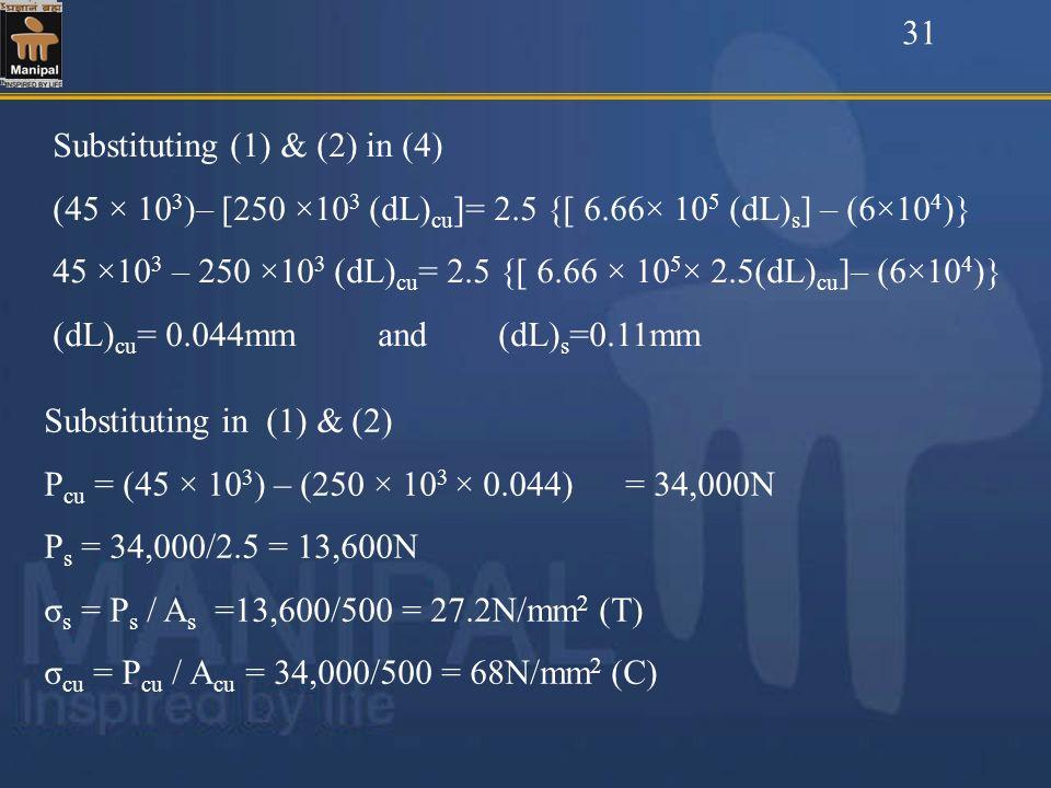 31Substituting (1) & (2) in (4) (45 × 103)– [250 ×103 (dL)cu]= 2.5 {[ 6.66× 105 (dL)s] – (6×104)}